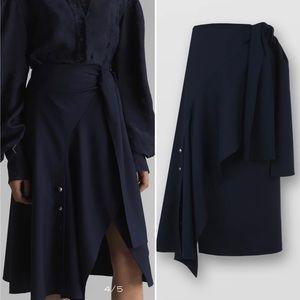 CHLOE stormy night wrap flannel midi skirt 40